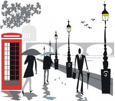 Vector illustration of walking in rain along London Embankment area