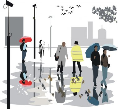 Vector illustration of walking in rain along London