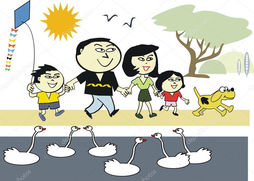 Kreslene Vektorove Stastne Asijske Rodiny Tesi Chuze Venku Na Podzim
