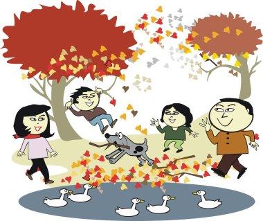 Vector cartoon of happy Asian family enjoying walk outdoors in autumn