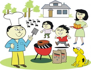 Vector cartoon of happy Asian family enjoying outdoor barbecue meal