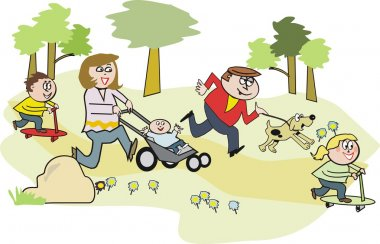 Vector cartoon of happy family in park with children