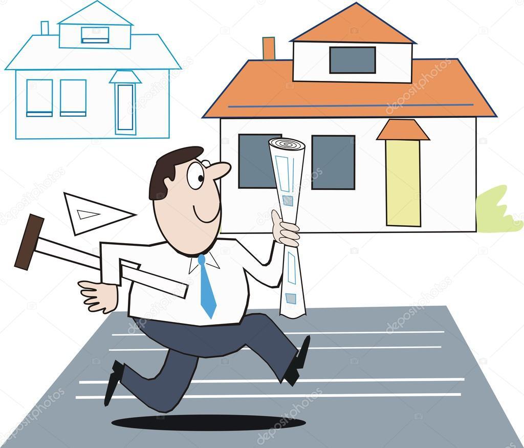 Finest caricature de vecteur avec des plans en cours - Delai pour construire une maison ...