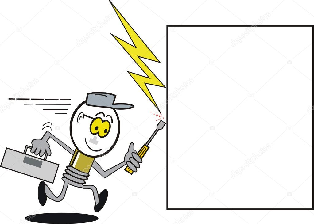 Vector cartoon showing light bulb electrician symbol running to ...
