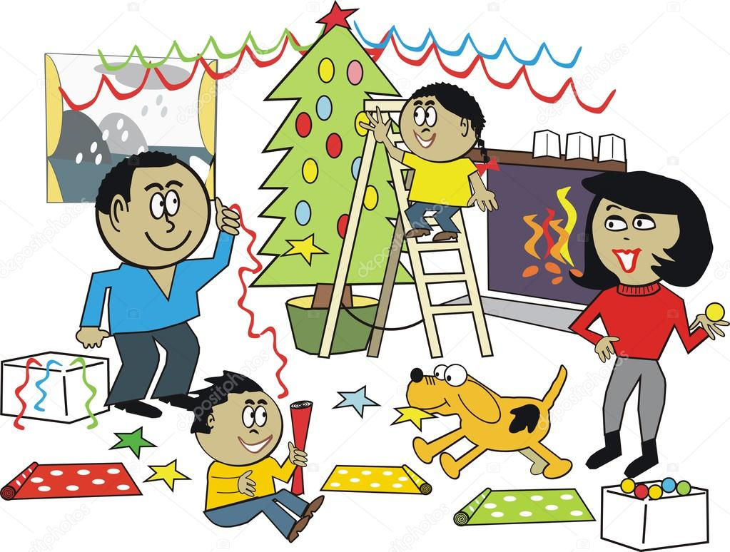 Image result for christmas family cartoon happy