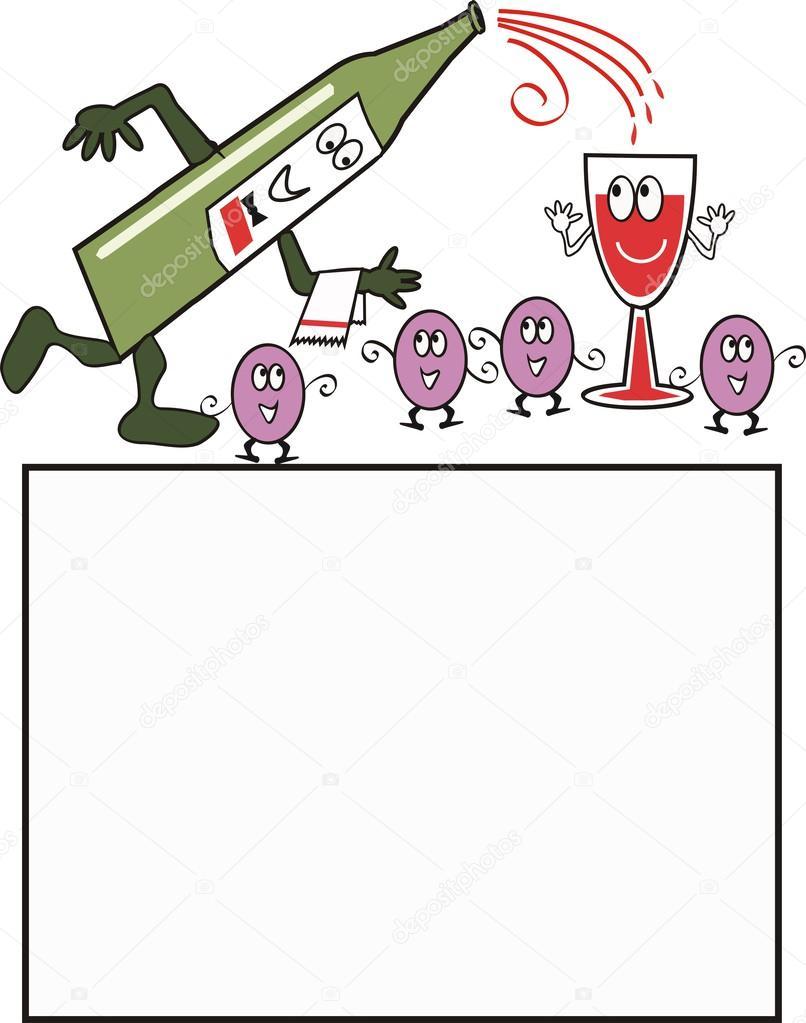 Cartone animato di animate bottiglia versando il vino
