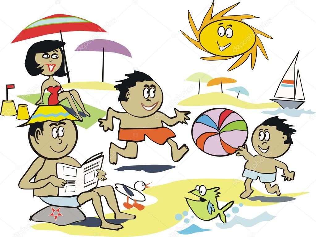 Cartoon vector of afro American family at beach