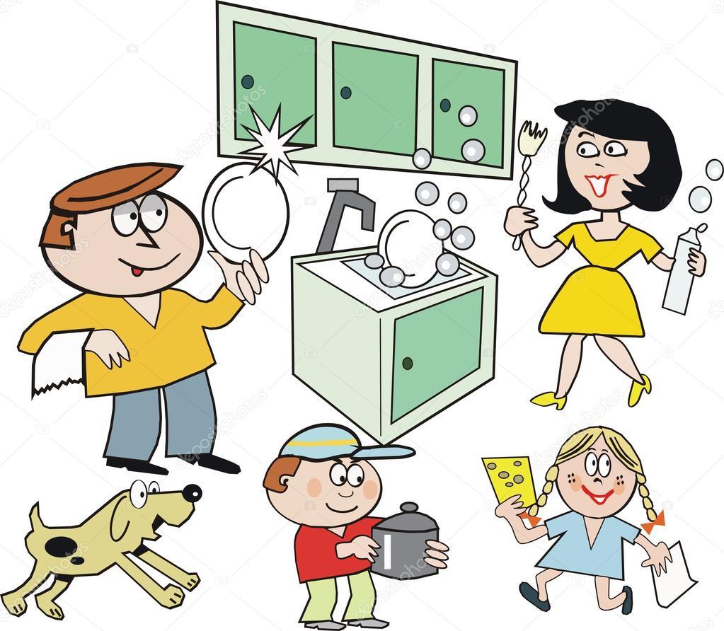 Dibujos Lavando Platos Dibujos Animados De Grupo Familiar Feliz