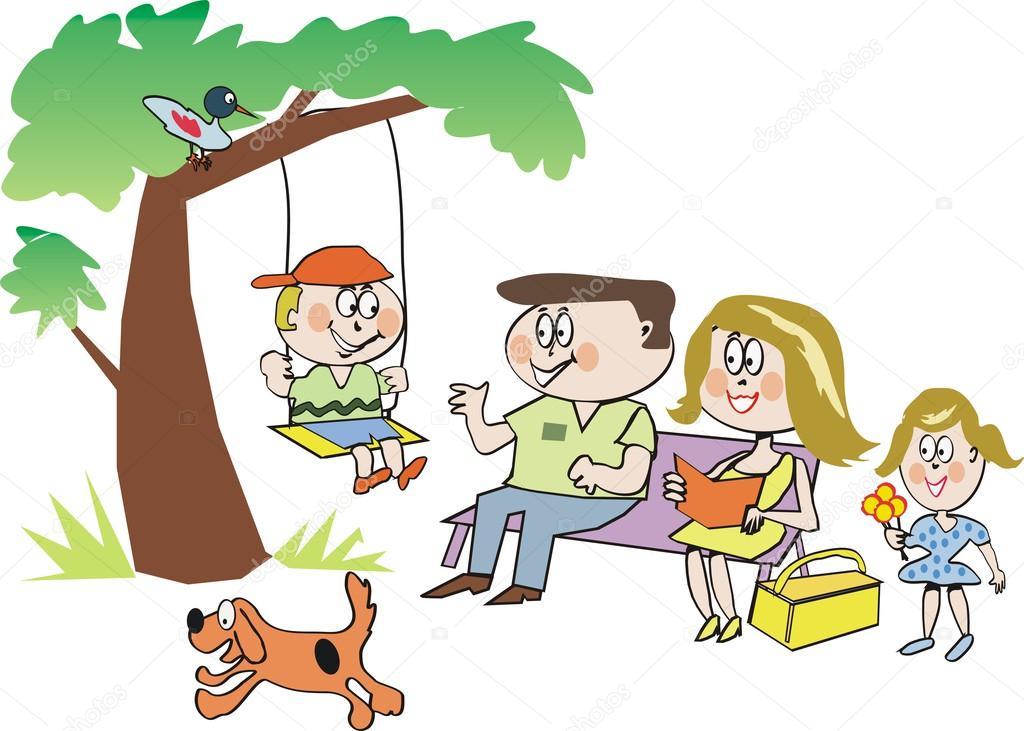 Cartone animato della famiglia felice nel parco