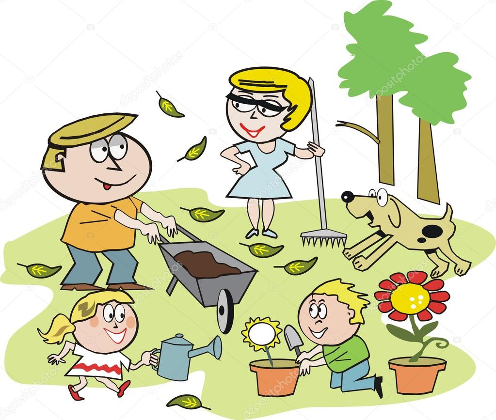 Cartoon of smiling family group working in garden