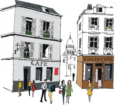 Vector illustration of Paris bakery near Montmartre, with pedestrians.