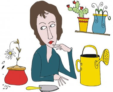 Vector cartoon of woman trying to grow flowering plants.