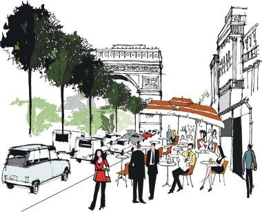 Vector illustration of cafe scene in Paris, France.