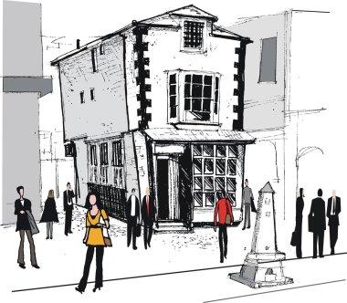 Vector illustration of old market house, Windsor, England.