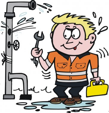 Vector cartoon of plumber working on leaky pipe.