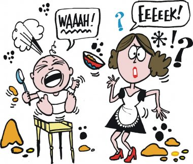 Vector cartoon of woman trying to feed baby.