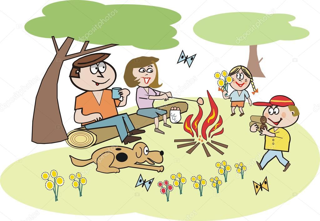 Cartoon of family group sitting around campfire in forest setting.