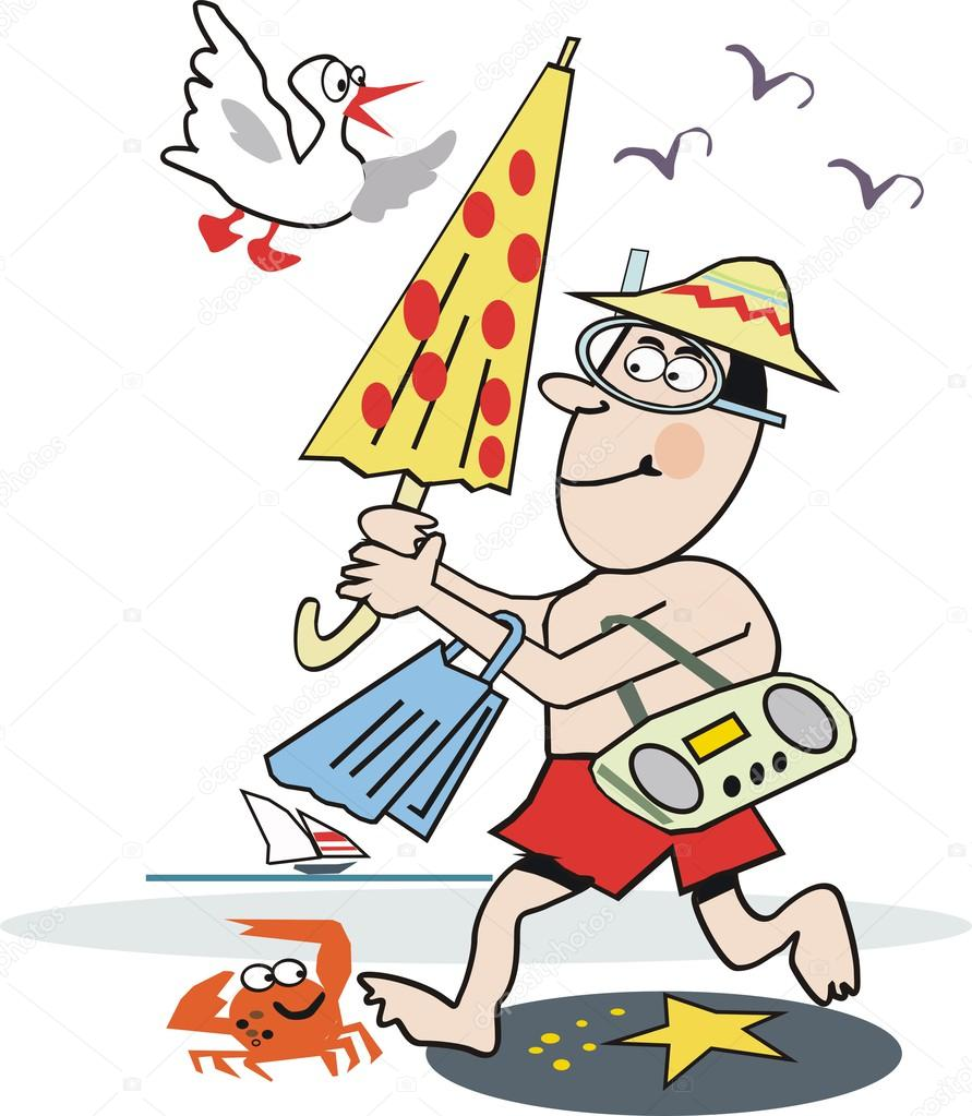 Sonnenschirm strand comic  Karikatur Mann läuft am Strand mit Sonnenschirm, Schläger und radio ...