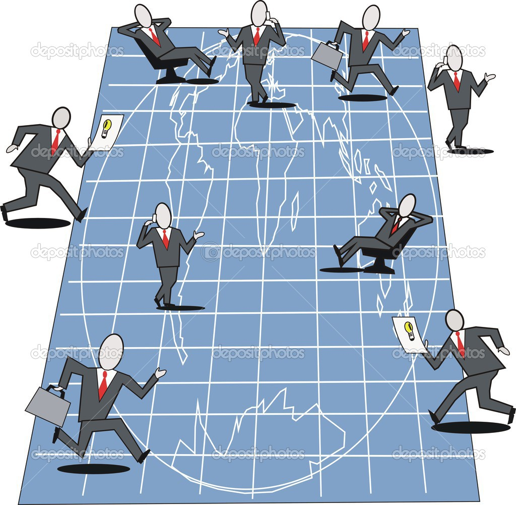 Cartoon of business executives planning on large blueprint of world cartoon of business executives planning on large blueprint of world map stock vector malvernweather Image collections