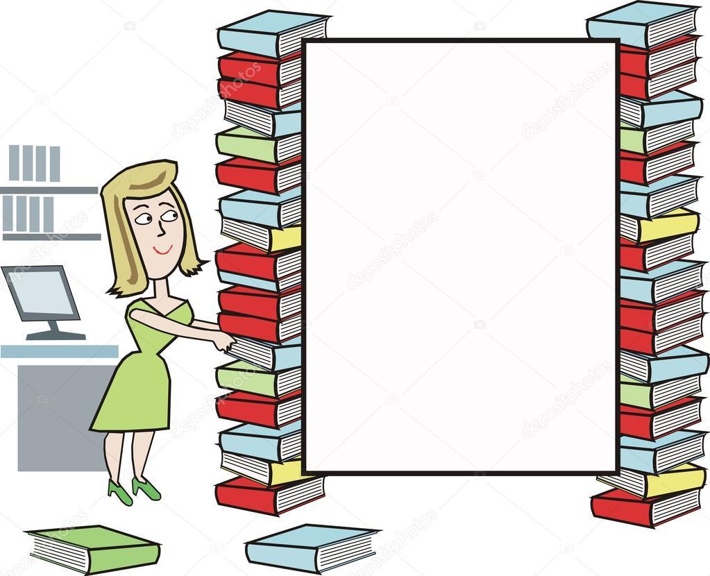 dibujos animados de bibliotecario con pilas de libros y un espacio ...
