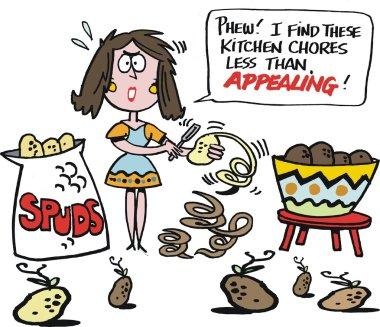 Vector cartoon of overworked housewife peeling potatoes