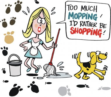 Vector cartoon of tired housewife mopping kitchen floor