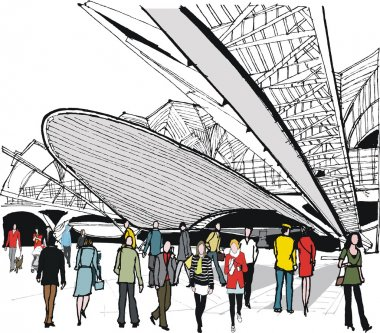 Vector illustration of LIsbon railway Station and commuters, Portugal
