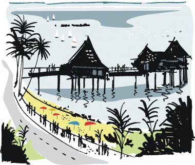 Vector illustration of people walking on the beach