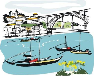 Vector illustration of port boats