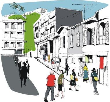 Vector illustration of pedestrians, Noumea New Caledonia street scene.