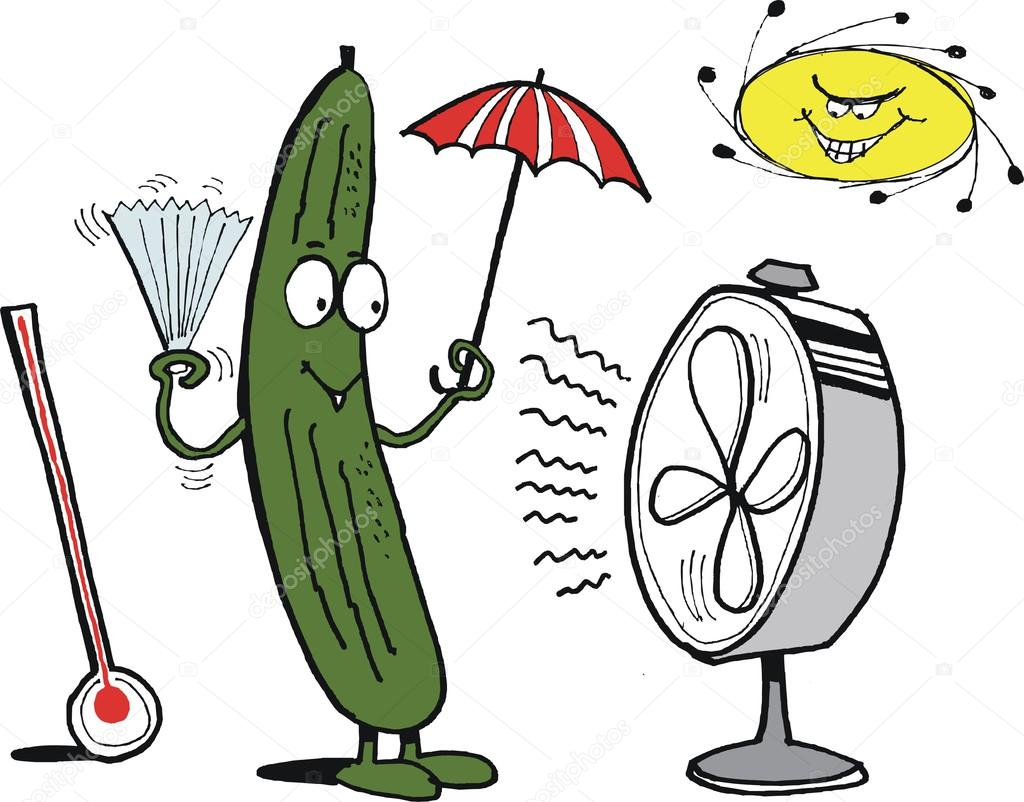 Vector cartoon showing funny cucumber keeping cool.