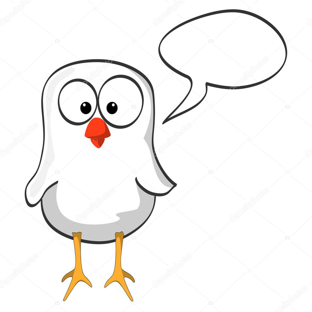 Black And White Little Bird With Speech Bubble Vector By Yakstudio