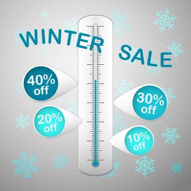 winter sale thermometer snowflakes
