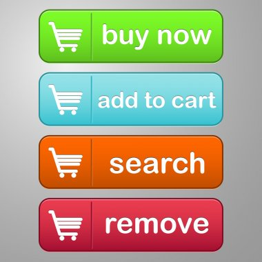 buttons set colored text cart