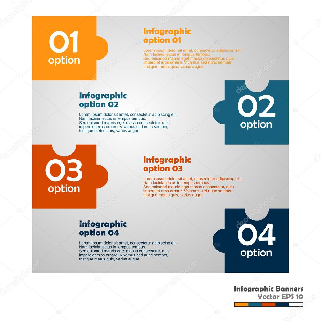 Puzzle-Info Streifen flach Farbverlauf — Stockvektor © yakstudio ...