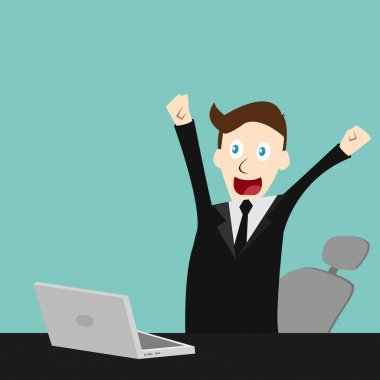 Vector full edit in Happy businessman finished his work with laptop and chair