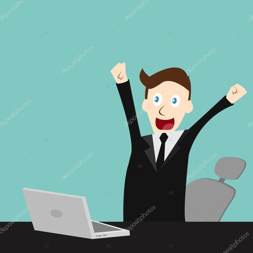 Vector completo edit en empresario feliz termin su for Oficina de empleo rochapea
