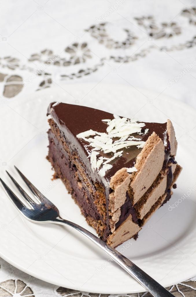 Stuck Schokolade Kuchen Verziert Mit Weissen Schokoflocken