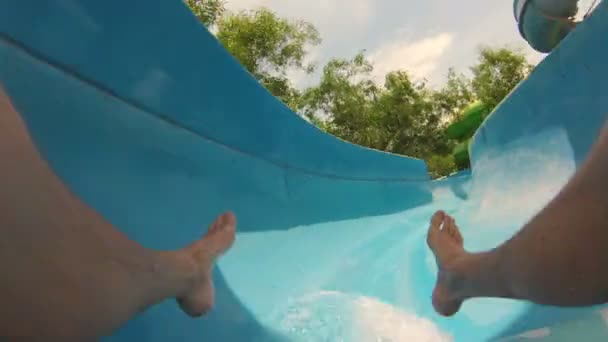 Riders perspective of sliding down a water slide.