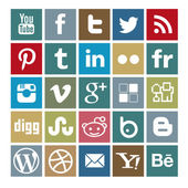 Set of 25 social-media colored icons