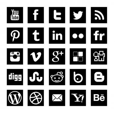 25 Black simple Social-media icons set