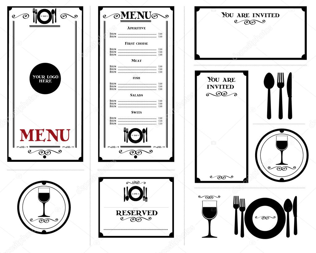 restaurant menu simple stacionery elements stock vector