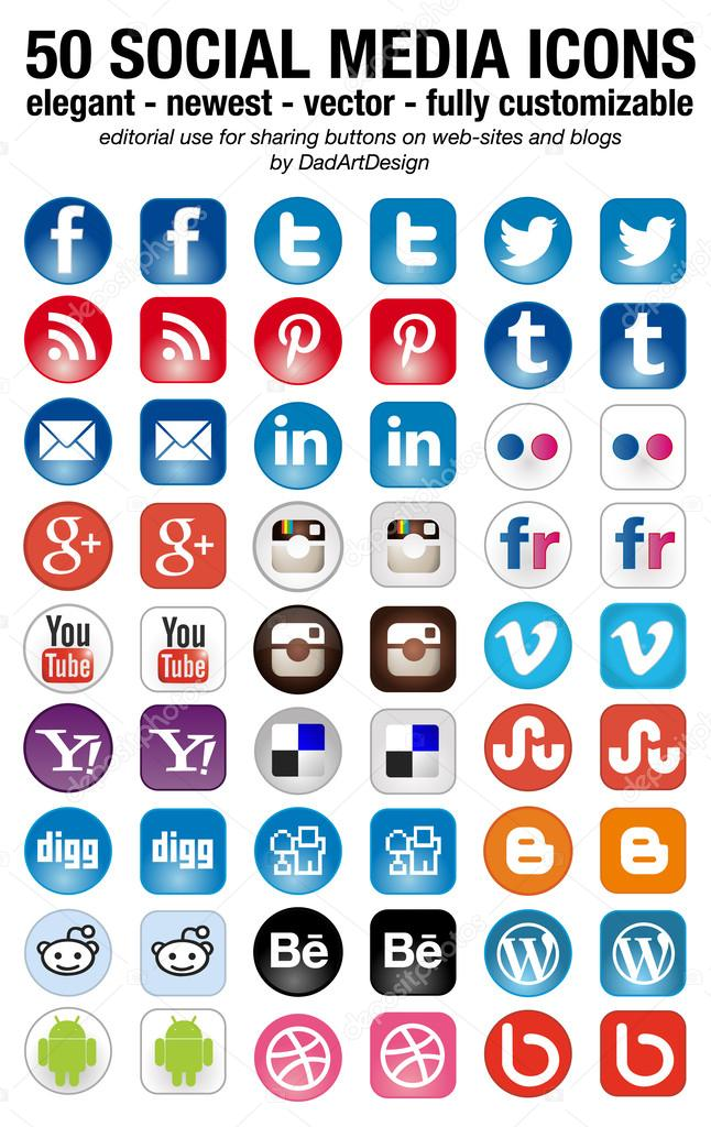 Social Media set of 50 newest icons