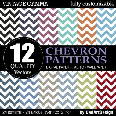Set of 12 Chevron vector patterns, vintage color printable digital paper