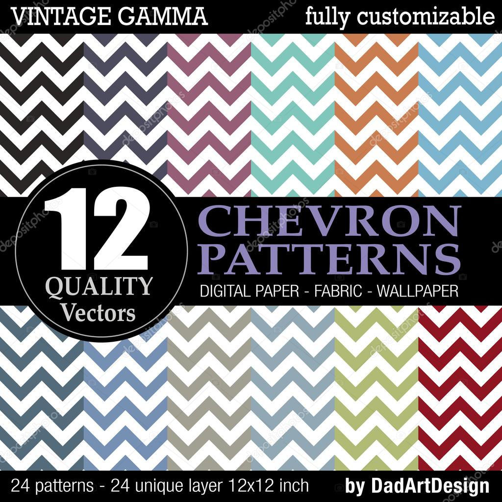 photograph regarding Printable Chevron Pattern called Printable classic paper Fixed of 12 Chevron vector habits