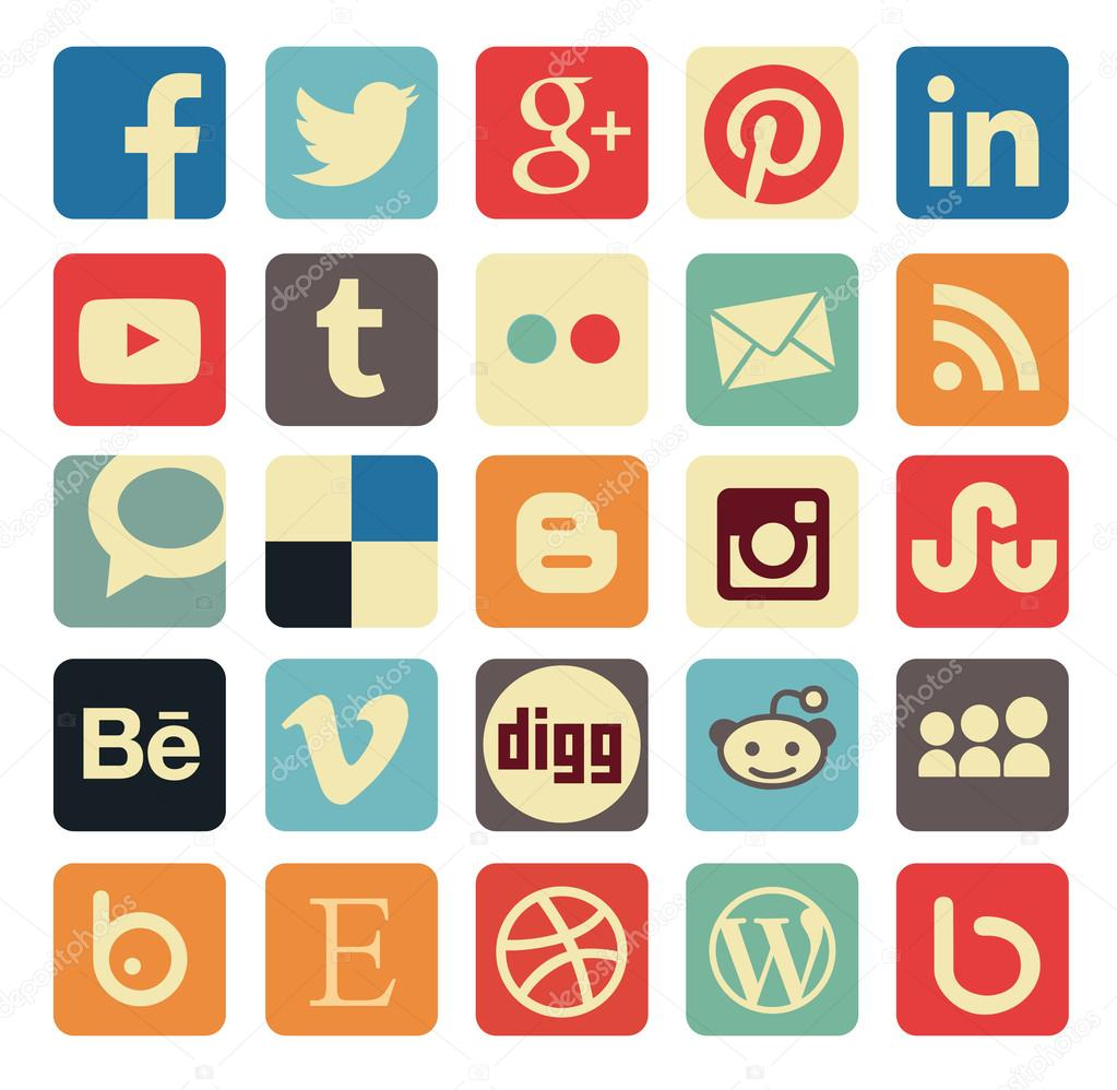 Simple social media icon retro style
