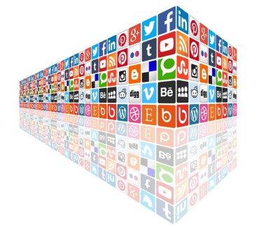 Social media concept wall