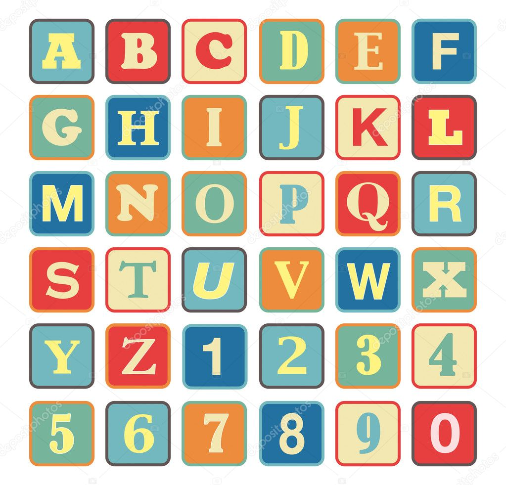 alphabet cubes with retro vintage colors all separate letters from a to z great for expressing concepts and contents about kids toys games