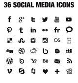 36 sociální media ikony - nová verze