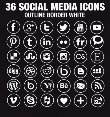 36 Social media icons - new version - circle white outline borders